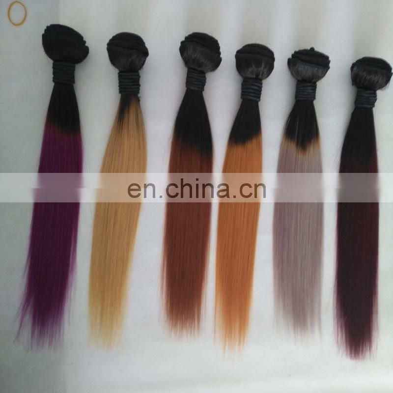 Hot Selling Grade 8a 12inch Ombre 99j Dark Root Virgin Brazilian Hair Bundles for Black Women