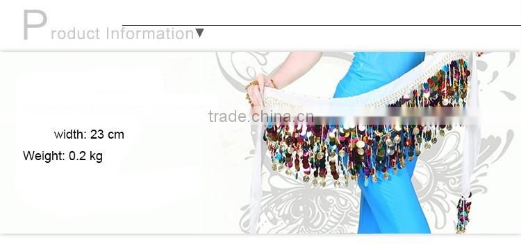 2016 Belly Dance Accessories 1 Piece Sequin Belt Belly Dance Hip Scarf With Colorful Coins Dance Wear Dancewear Bellydance Coins