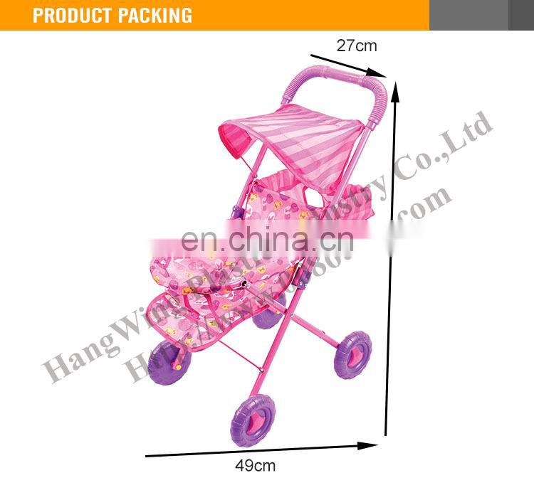 2015 New Product Funny Alloy Toy Doll Stroller With Shade