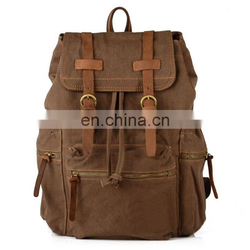 Strong vintage canvas leather satchel backpack for young