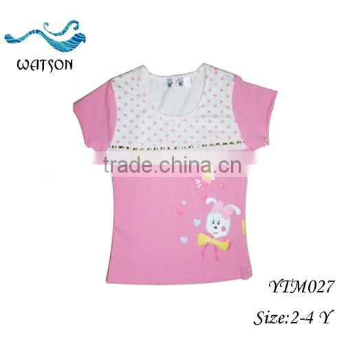 Little Girls Cheap Round Neck Cartoon Shirts