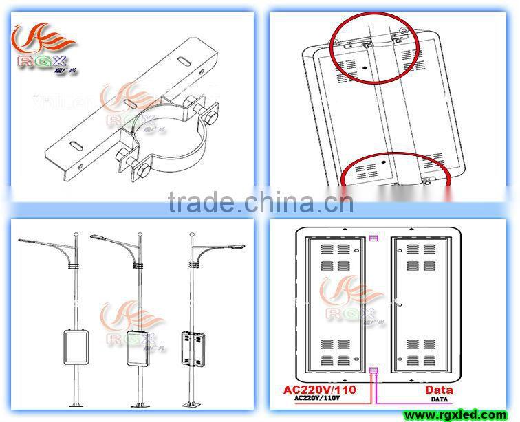 RGX P3 P4 P5 P6 P8 P10 Outdoor stainless steel lighting pole