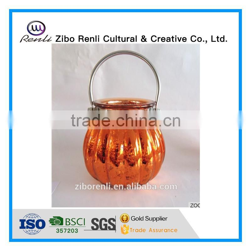 Big Electroplated Unique Hanging Glass Pumpkin Jars for Candle