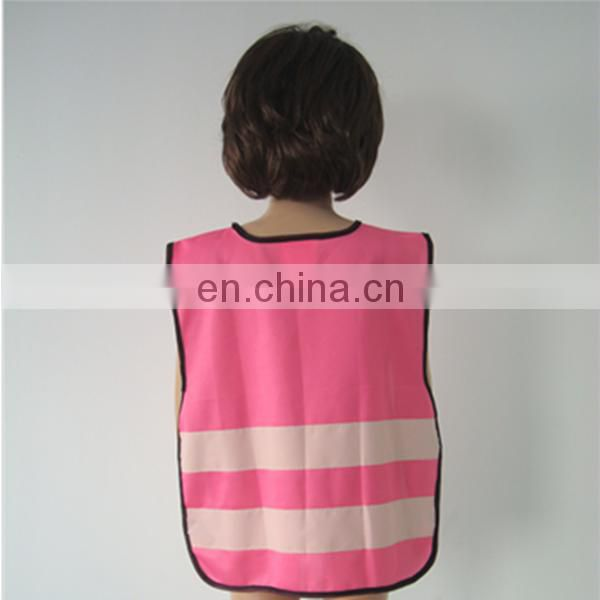 Pullover school pink reflective kid safety vest with elastic band