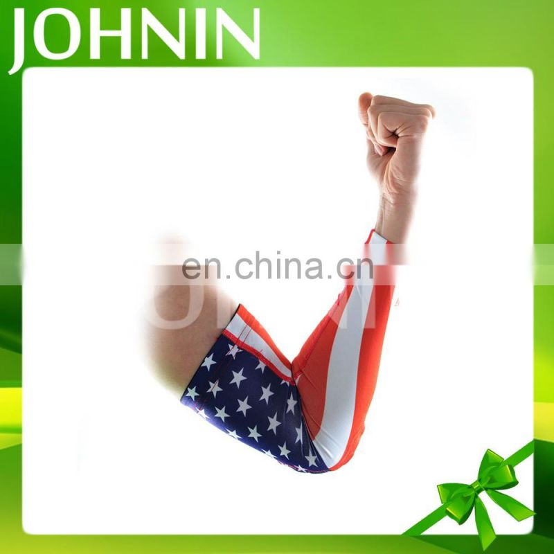 Good quality custom sun protection stretchable printing sport arm sleeve flag