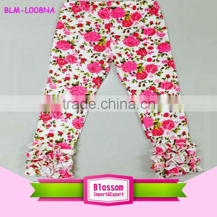 5f93d3b845 Kids icing pants & trousers baby ruffle leggings girls fancy cotton plus  size flower printed capris newborn icing leggings 0-8 t Image