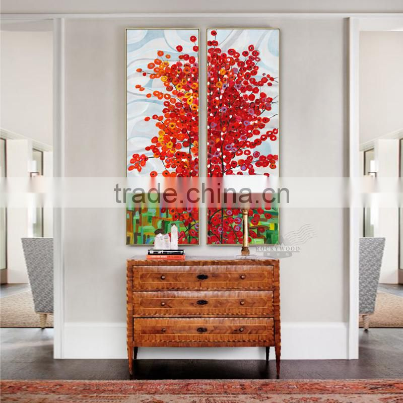 Wall Art 2 Panel Red Tree Oil Canvas Painting Abstract Scenery Picture For Living Room Wall Decor Oil Paintings Framed Stretc