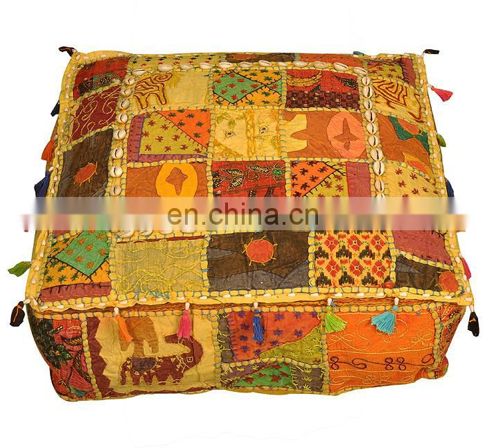 World Famous Indian Handmade Ottoman Pouf Square Pouf Vintage Ottomans Online