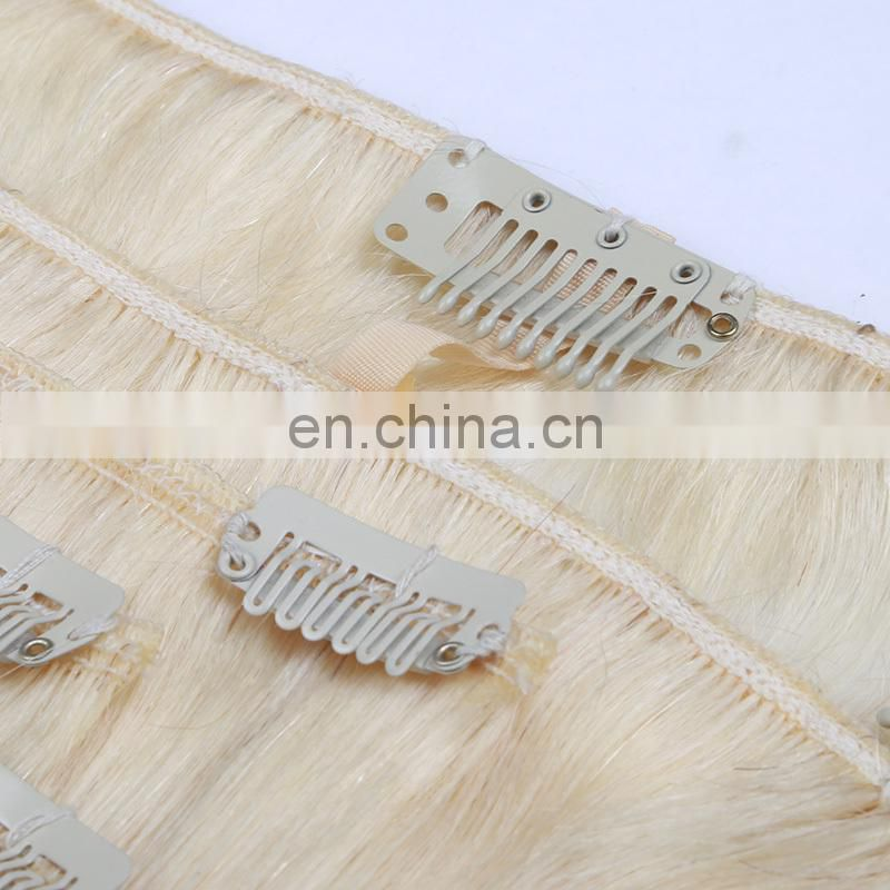 HIgh Quality Peruvian hair clips sawed very strong clip in hair extensions