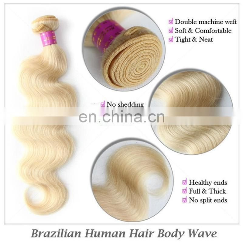 Double drawn 2016 factory wholesale 613 brazilian body human hair extensions for white women