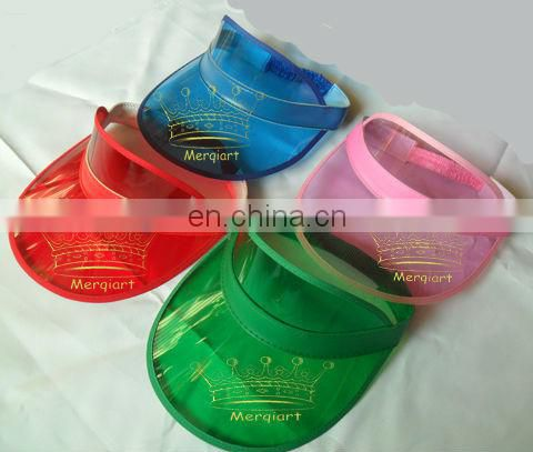 Factory wholesale plastic sun visor cap with uv protention and white las vegas logo
