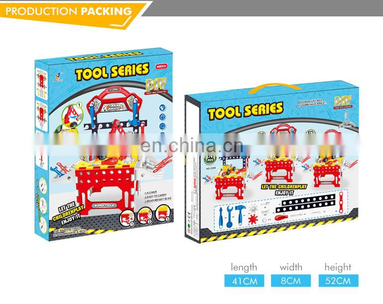 High quality wholesale play DIY assembled workbench kids tool set