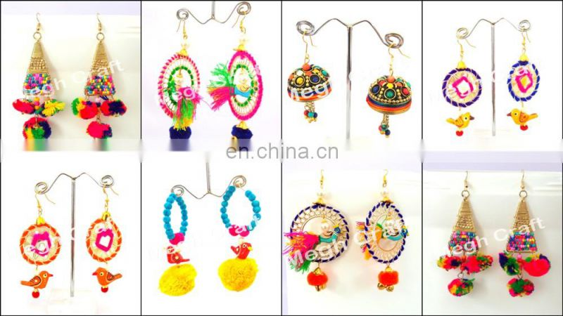 Pom Pom Earrings, Colorful Earrings, Gypsy Earrings, Bohemian Earrings, Pom Pom Dangle Bali Earrings