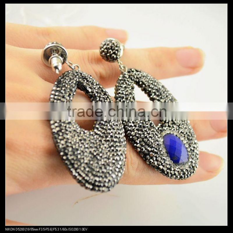 LFD-064E Wholesale Fashion Faceted Blue Agate Stone Paved Crystal Rhinestone Paved Drop Earrings Charm Jewelry Finding