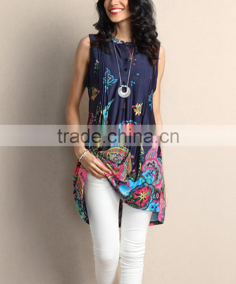 Best Sellers Women Tops With Navy And Fuchsia Paisley Notch Neck Pin Tuck Sleeveless Tunic Women Blouse Women Clothes GD90426-6