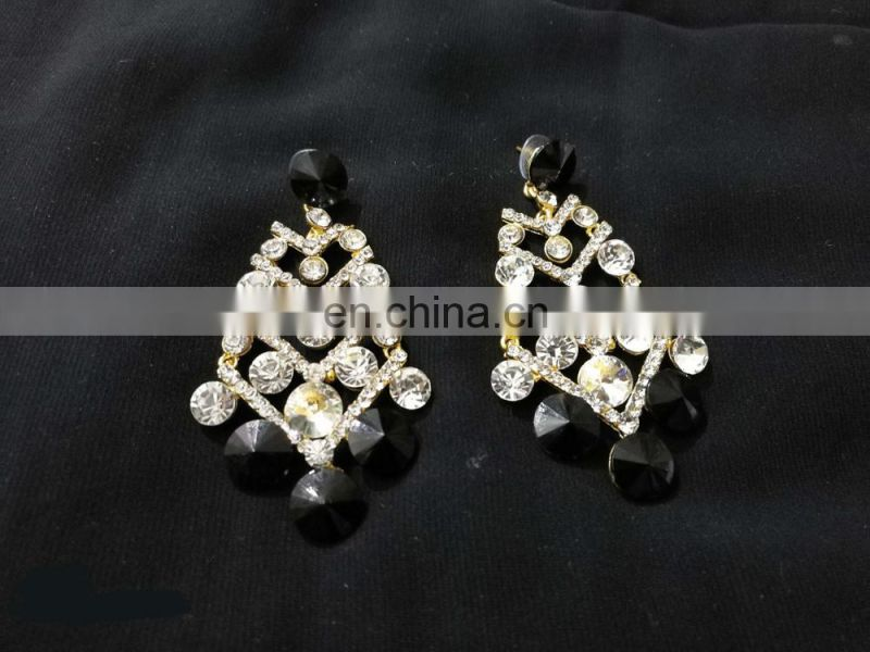 Innovative Designer Gold Plated Party Wear Earrings Set In Black Color