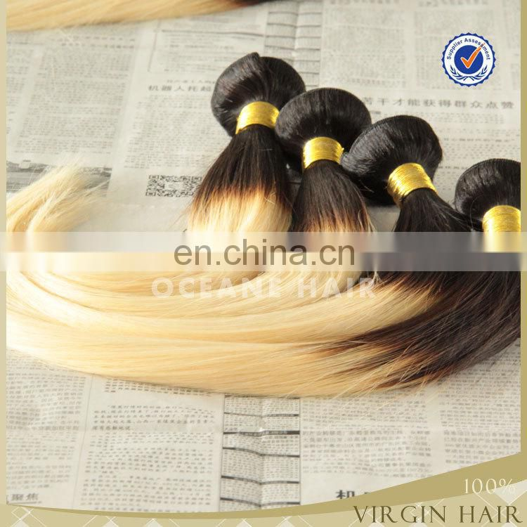 wholesale cheap alli express two tone ombre colored hair blonde color remy human hair