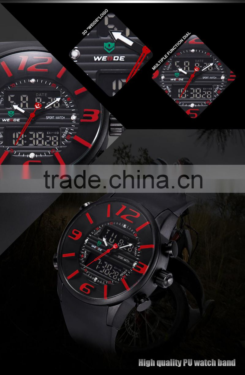 WEIDE french luxury brands watch men classic japan movement quartz analog digital dual time display