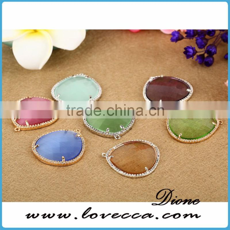Wholesale DIY fashion jewelry accessories colorful glass stone glass bezel pendant