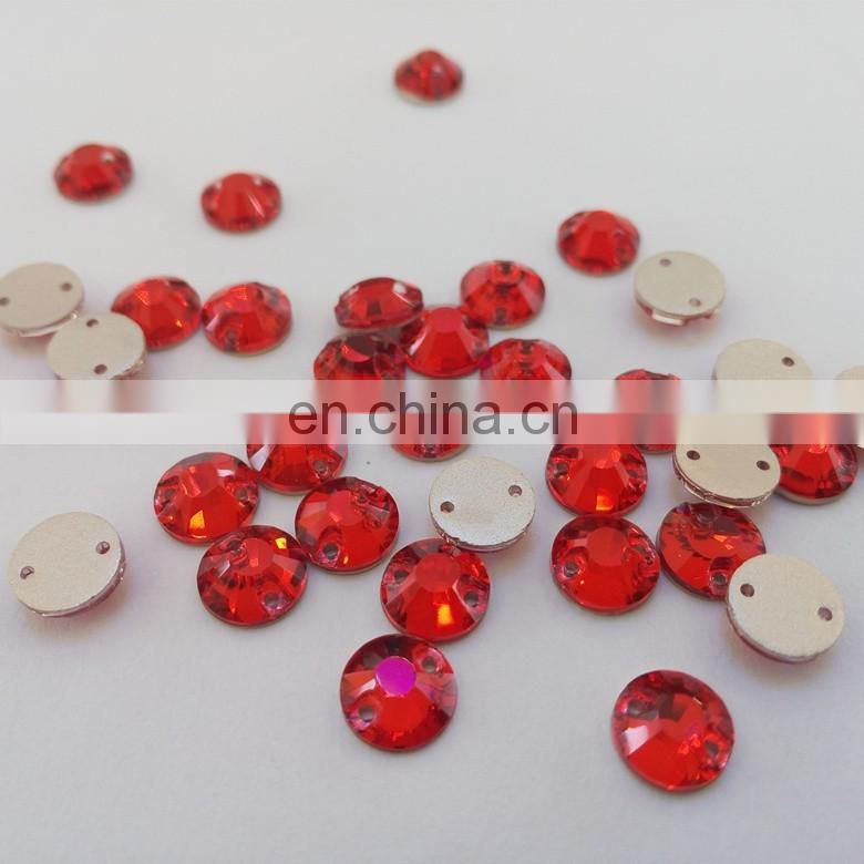 8mm red sew on crystal garment beads for wholesale