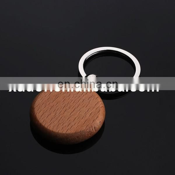 Wholesale Round Blank Wooden Key Chain/Keychain Promotion Carving Circle Key ID Engrave Gift