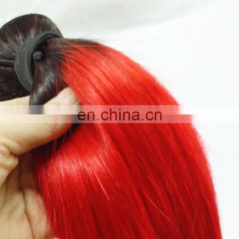 Large Stock #1B/Red Ombre Hair Wefts 12inch 3 Bundles Red Brazilian Hair Weave