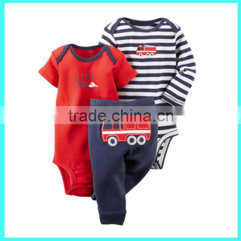 China factory wholesale baby top & pants set toddler boys outfit set infant stripe romper set