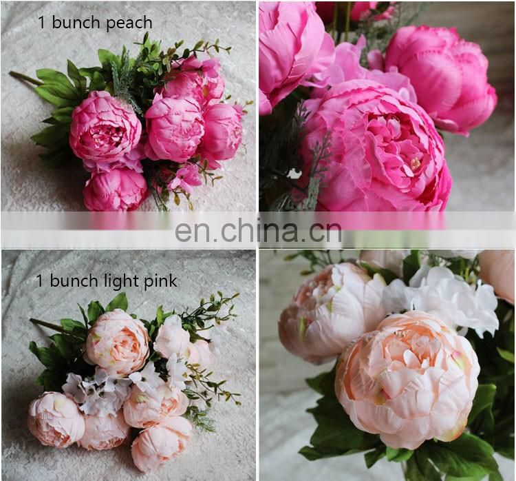 artificial fabric 6 heads flowers bridal hydrangea home party decor wedding bridal bouquet by bunch