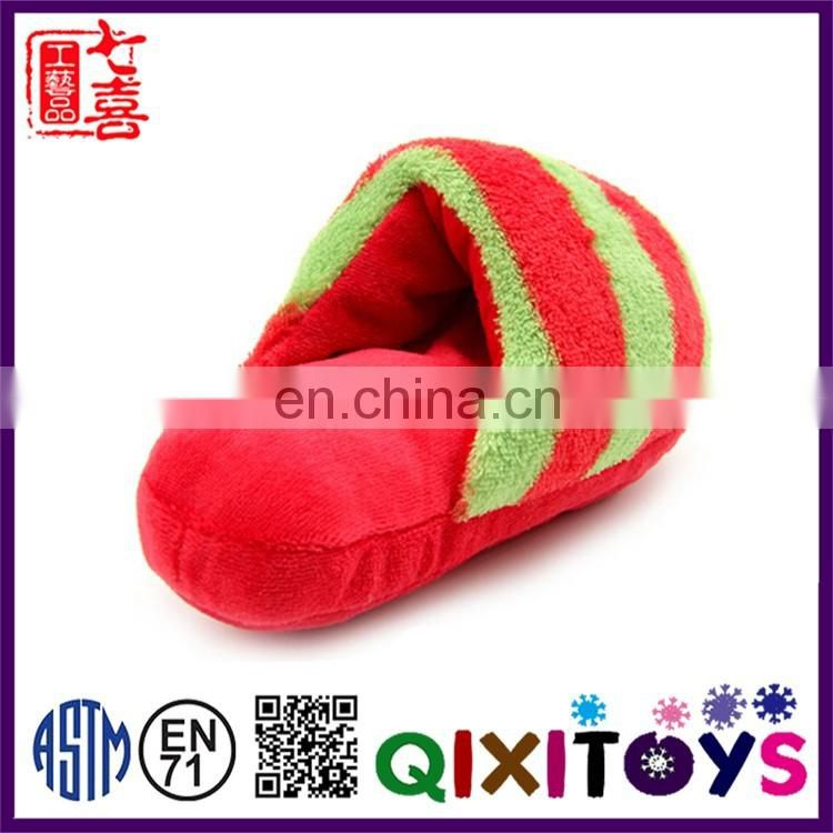 Professional production slippers shape plush pet toys with voice for dog to chew