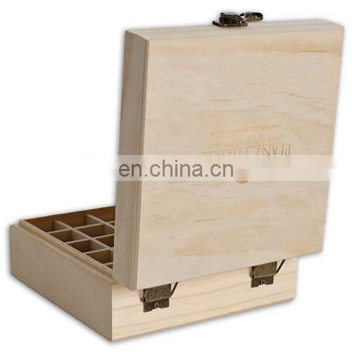 Wood box packaging Essential Oil Box - Holds 25 Bottles Size 5-15 ml