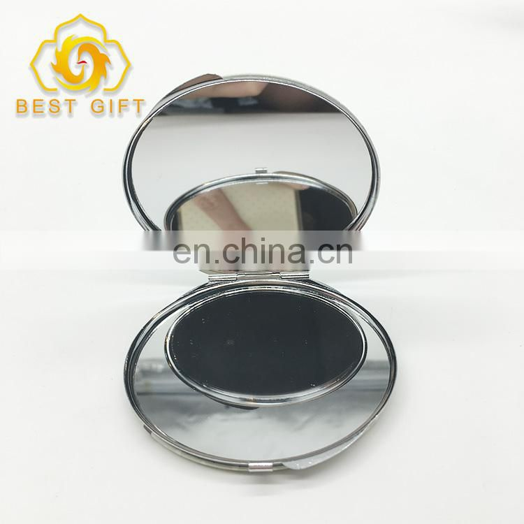 Double Birds Two-Side Printing Round Compact Metal Mirror