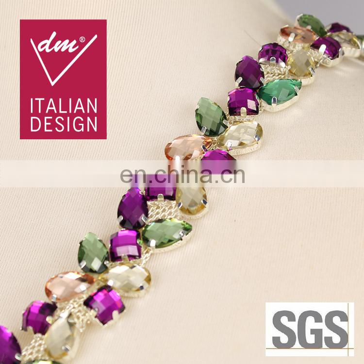 Colorful beaded rhinestone bridal trimmings chain