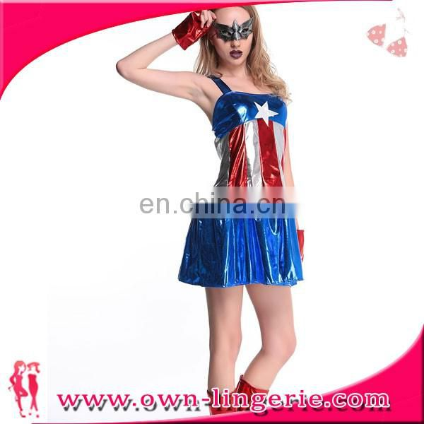 Sexy Overall Cosplay Dress Captain America Women Movie Role Play Costumes Hero Cosplay Costume with eyeshade,shoes cover,cuffs
