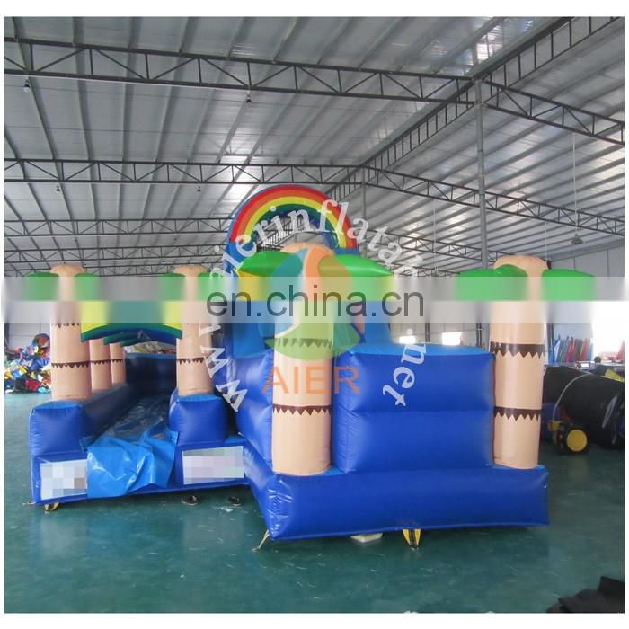 9m High Rainbow Inflatable Slide with pool