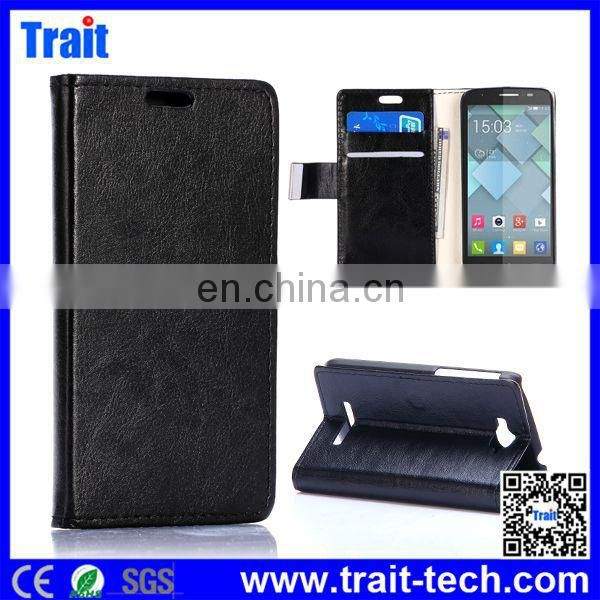 2015 Crazy Horse Flip Side Open Stand PC+ PU Leather WalletCase for Alcatel One Touch Pop C7