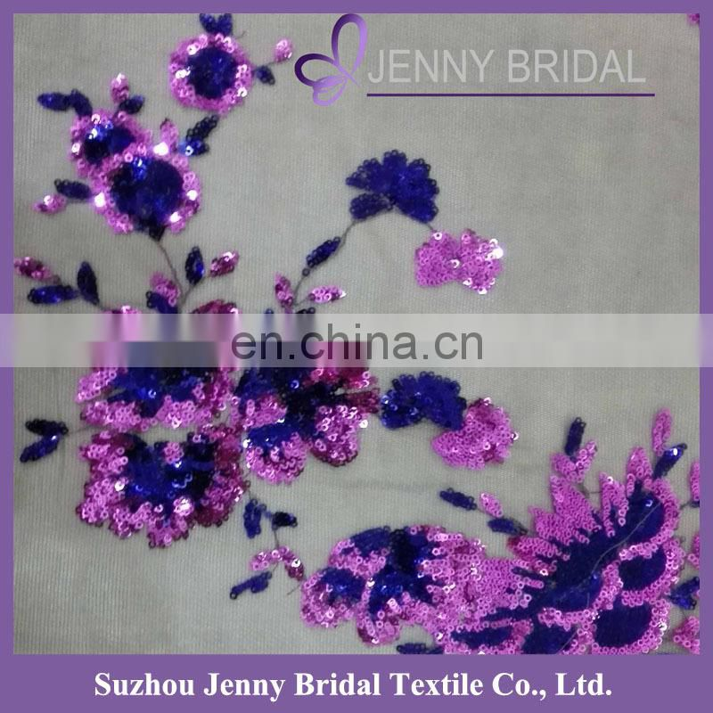 TR012C Sequin Embroidered Purple Organza Table Runner