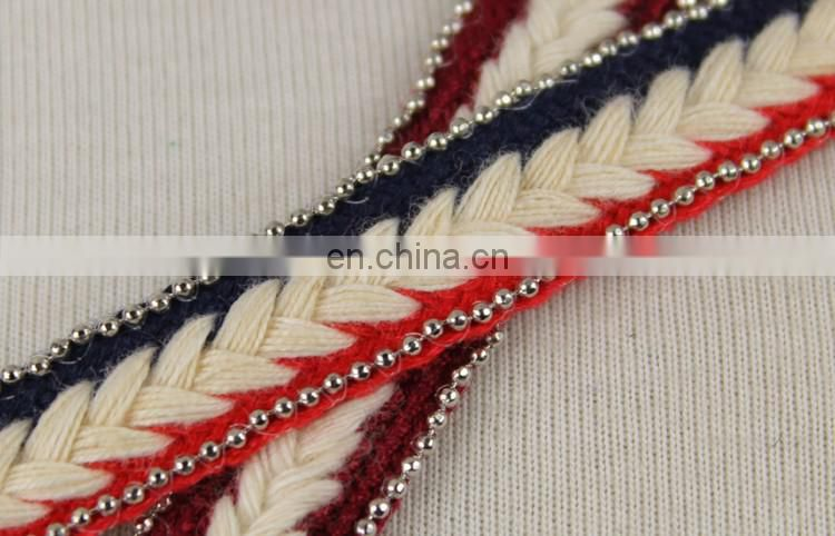 Wholesale fashionable decorative braided lace trim with metal chain