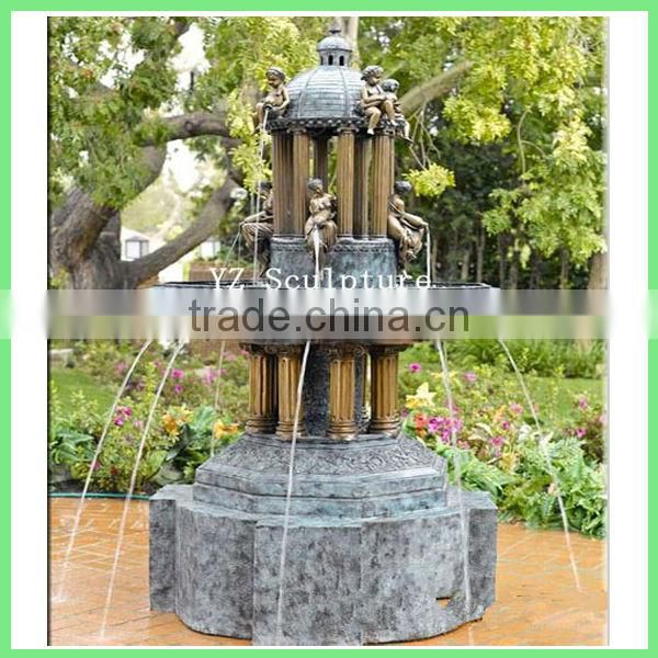 brass garden fountain with children statue GBFN-E030