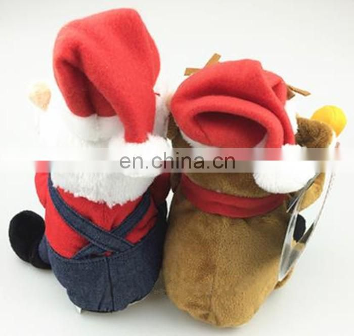 plush santa and reindeer singing toy