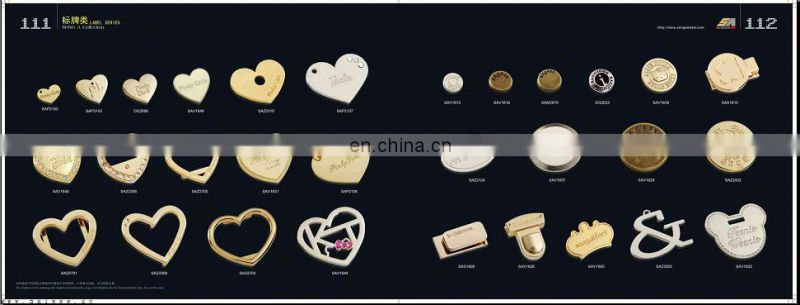 Song A Metal Top grade Eco-friendly custom metal bag hardware metal plates zip puller for handbag