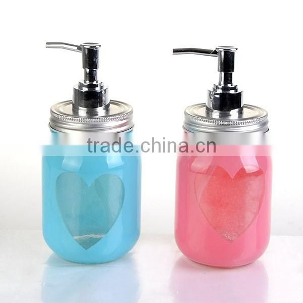 14oz colorful glass bathroom bottle storage bottle jars soap dispenser