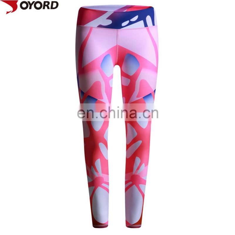 Custom sublimation prited polyester ladies sexi fitness leggings yoga wear