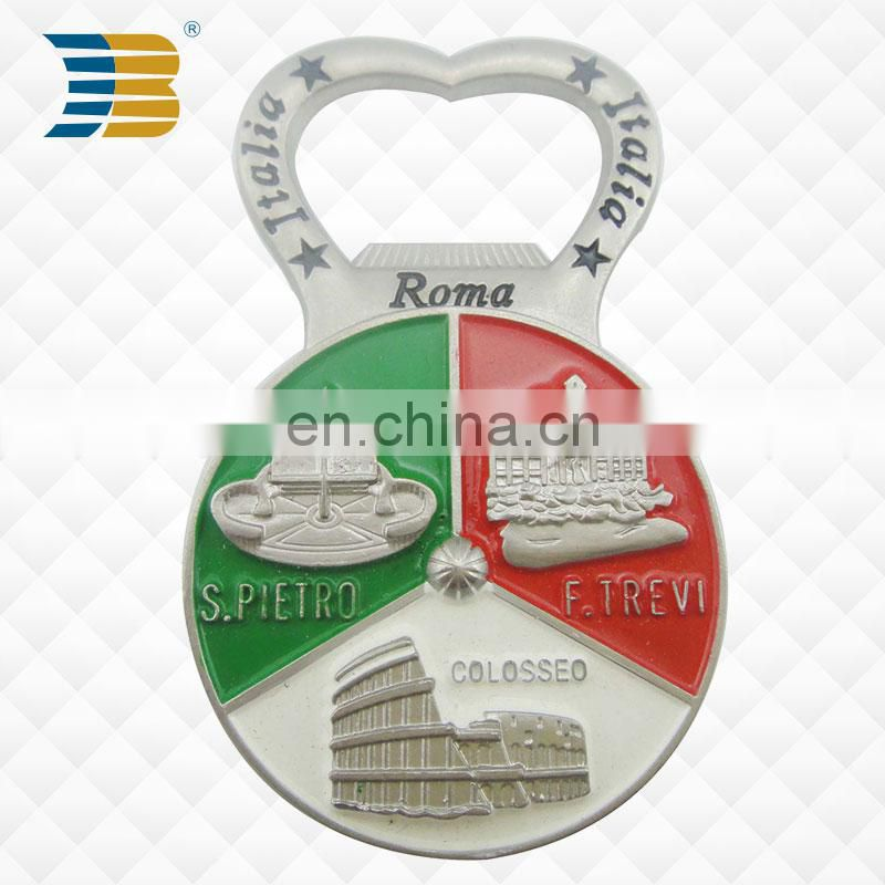 Zinc alloy plating cheap silver metal souvenir blank bulk bottle opener