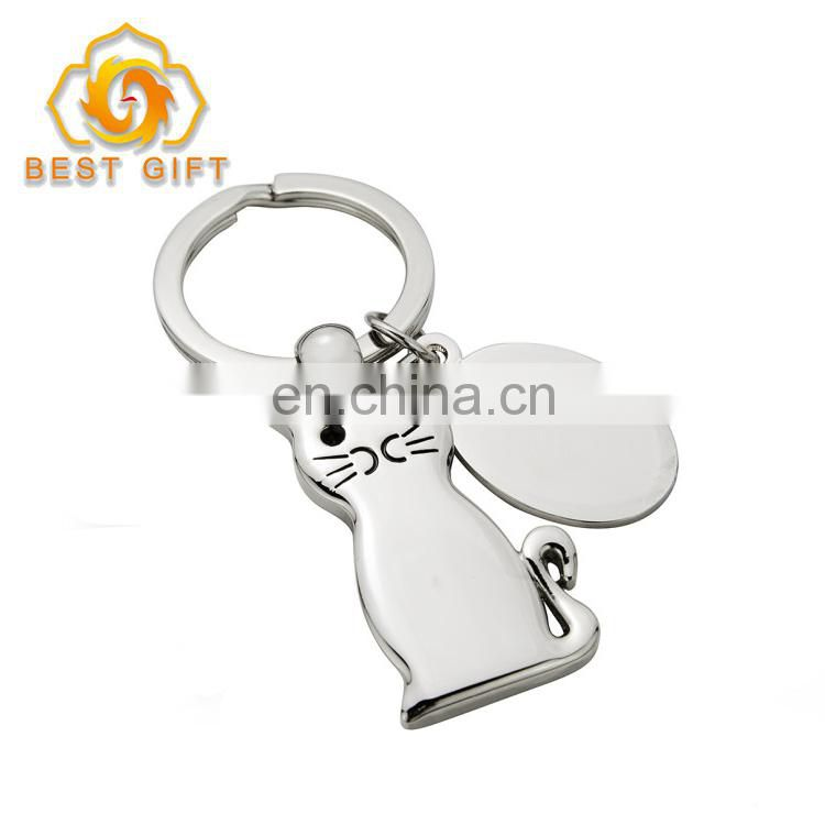 High Quality Cute Stainless Steel Cat Keychain