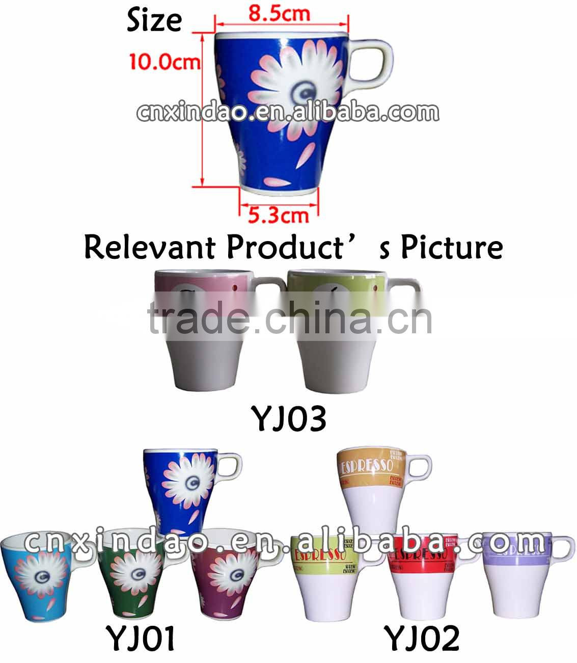 New Style Promotional Floral Designed Reusable Porcelain Tea Cup for Tableware Not Double Wall Cup