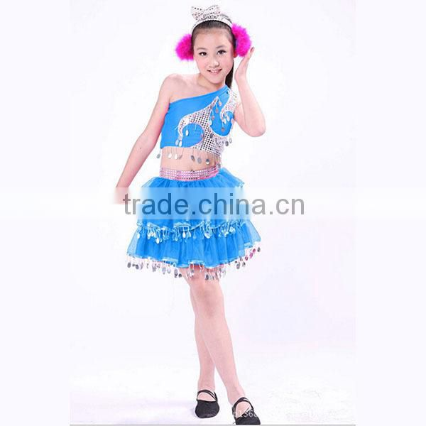 Supply beautiful show girls dance costume kids modern dance arabic Mongolian dance sequin costume Image