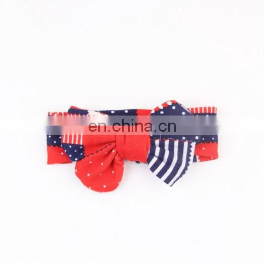 American Flag Headwrap With Messsy Bows For Baby Girl Top Knot Turban Headband For Hairband Photography Prop