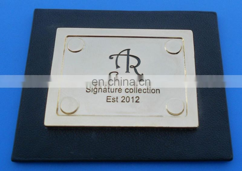 Metal Silver Polished Rectangle Logo Plate Furniture Label Design