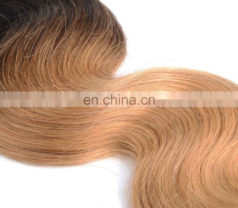 Wholesale Virgin Peruvian Ombre Blonde Body wave two tone ombre colored hair weave bundles