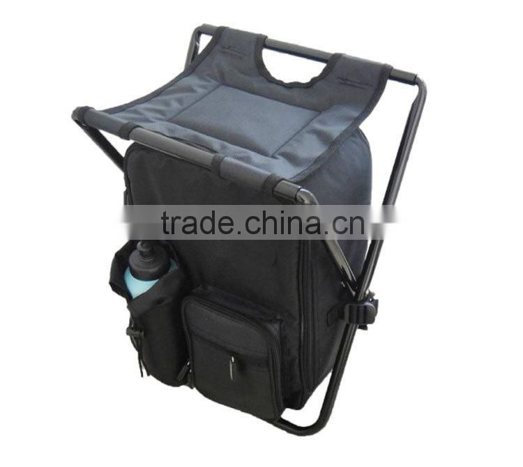 High Quality Fashion Oxford Black Camping Hiking Backpack Fishing Folding Chair Cooler Bag HWY009